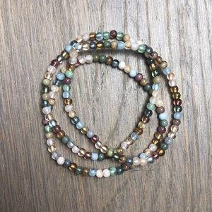 Jewelry - 3 stack elastic multicolored bead bracelets
